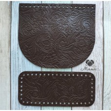 Valve 20*17 cm + bottom 20*9 cm (nat. leather) Cacoa flowers