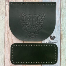 Valve 20*17 cm + bottom 20*9 cm (nat. leather) panther black