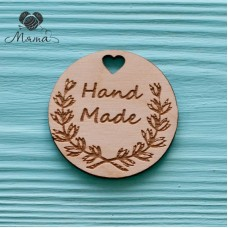 "Circle with heart ""Hand made""  - 5  cm"