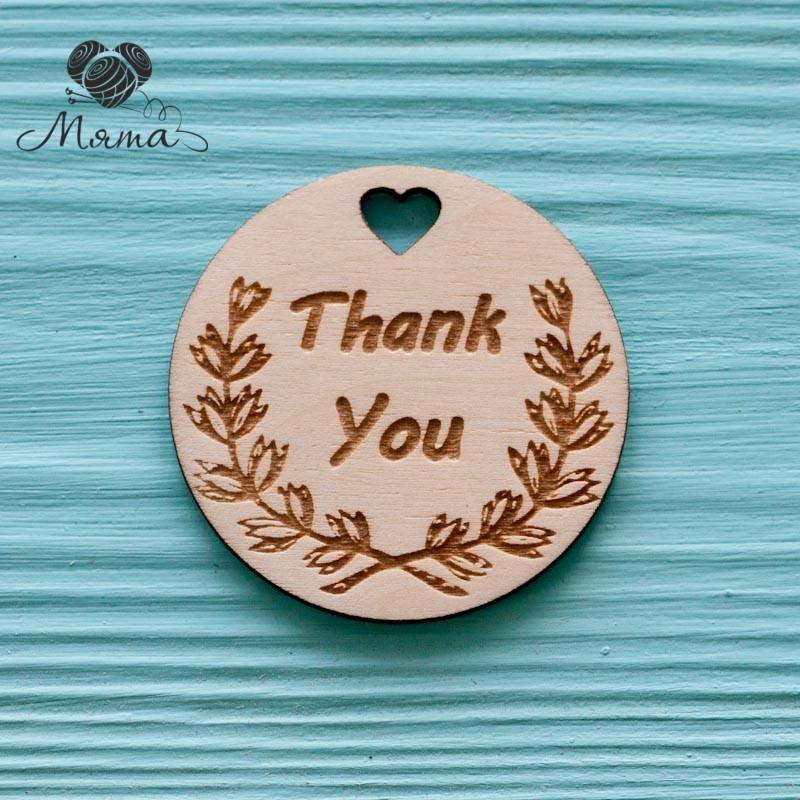 "Circle with heart ""Thank you""  - 5  cm"