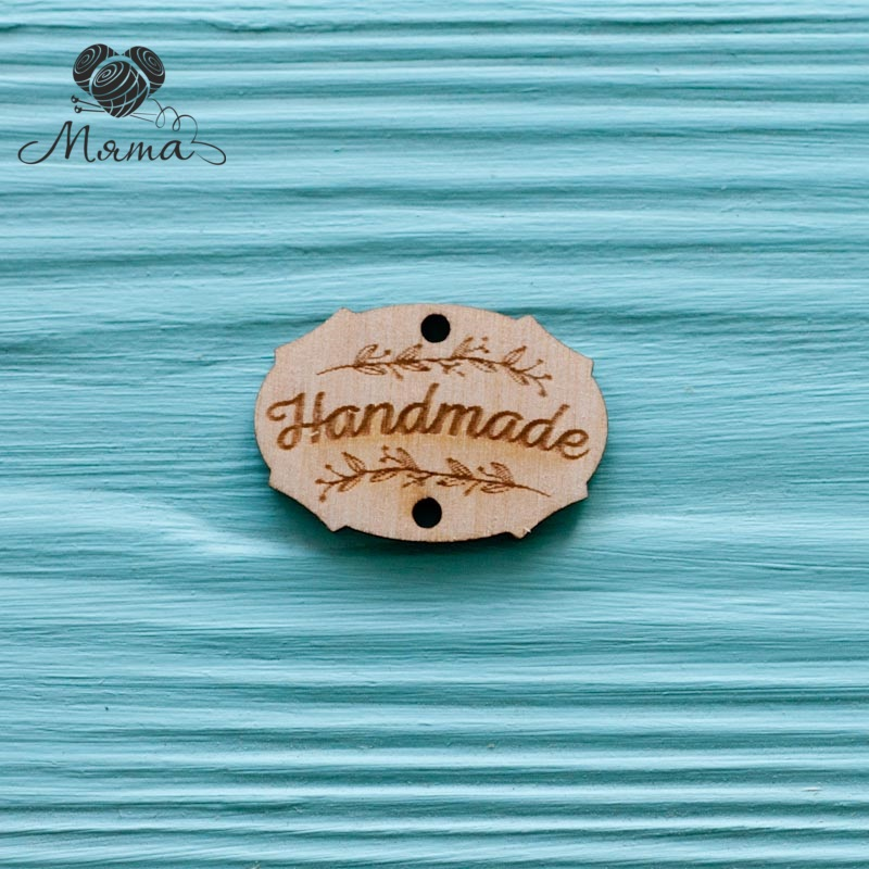 """Tag with branches """"Handmade"""" - 3 cm"""