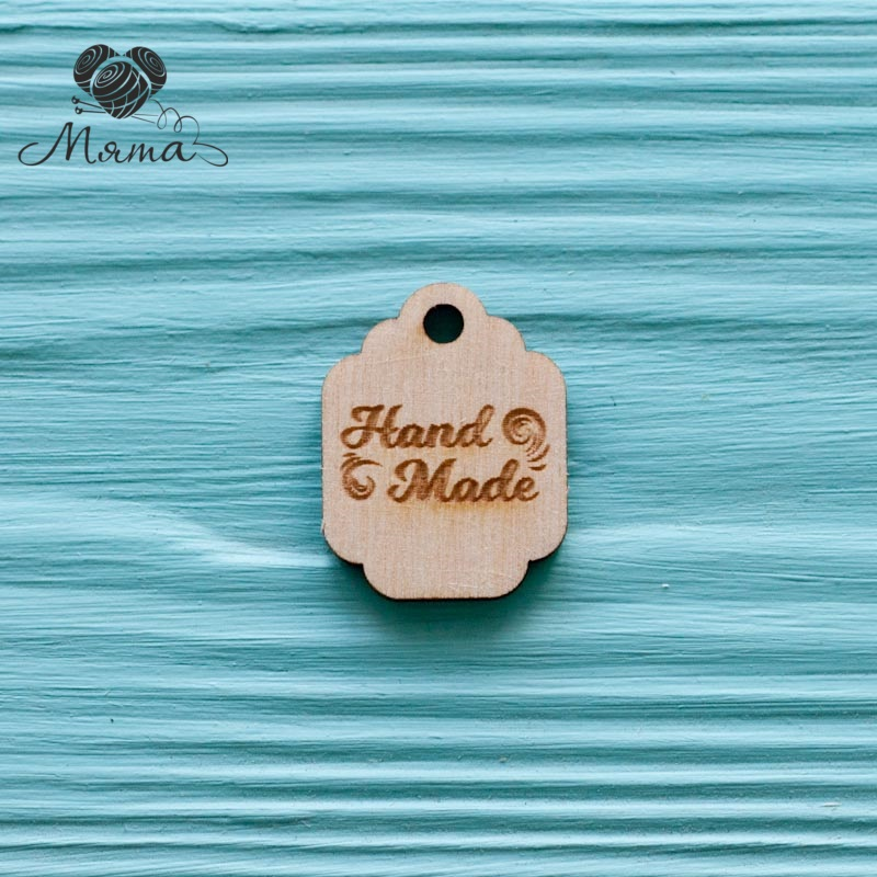 "Tag with monogram ""Hand made"" - 3 cm"