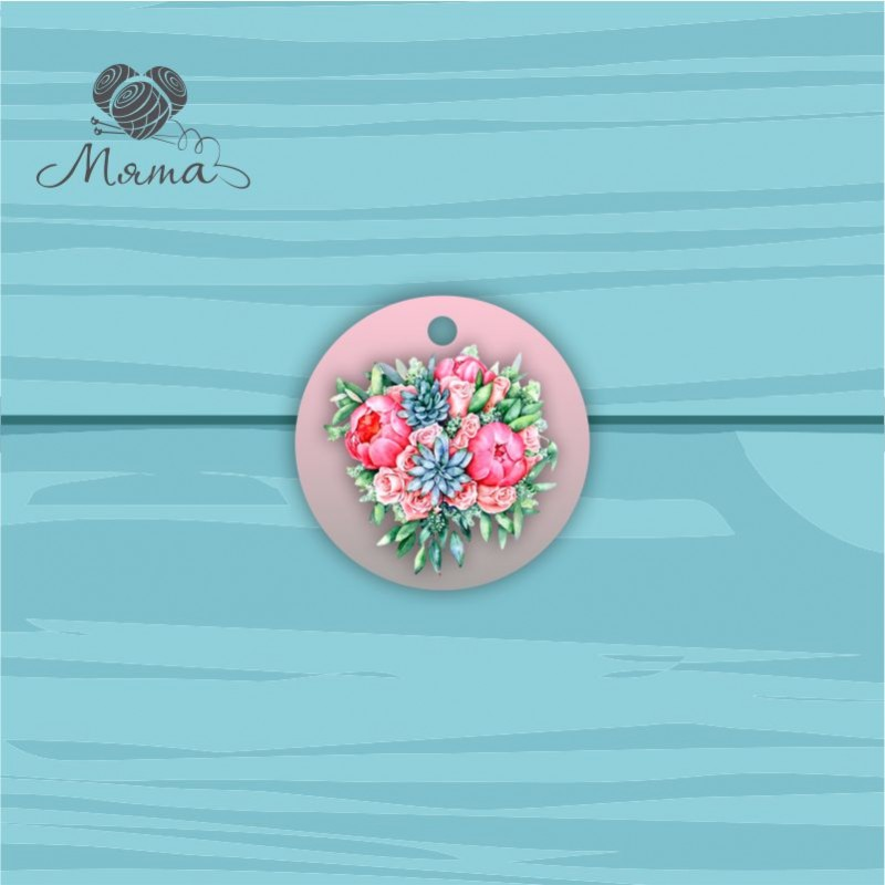 Pendant Circle 5 cm with color print №3