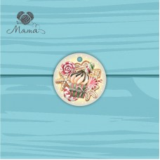 Pendant Circle 5 cm with color print №100