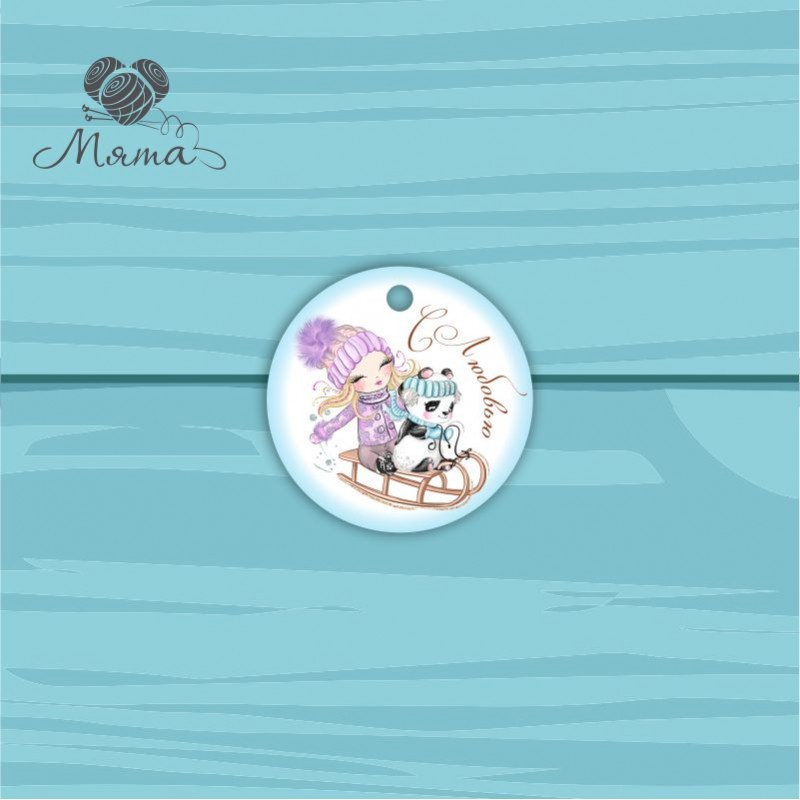 Pendant Circle 5 cm with color print №94