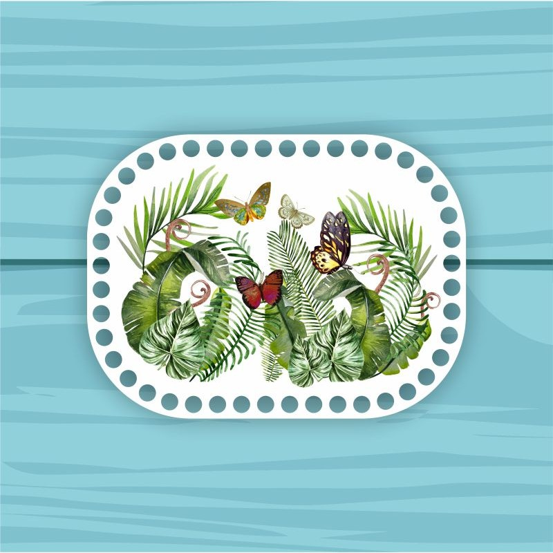 Rectangle with rounded edges d = 20 * 15cm CP20_15№№67 Butterflies in the leaves