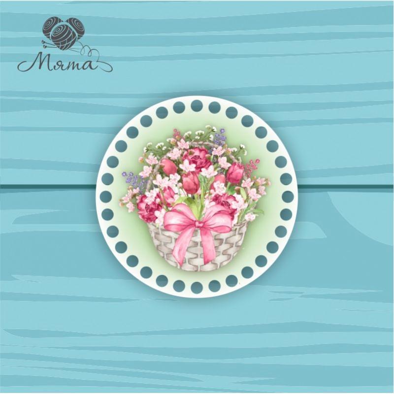 Circle d = 15cm TsP15№71 Basket of flowers green