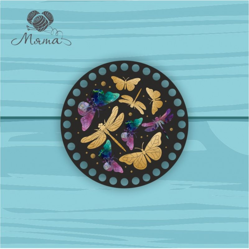 Circle d = 15cm TsP15№72 dragonflies and butterflies on a black background
