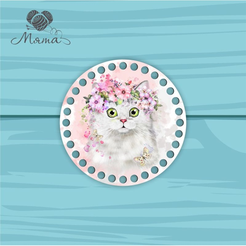 Circle d=15cm CP15№85 Cat with flowers