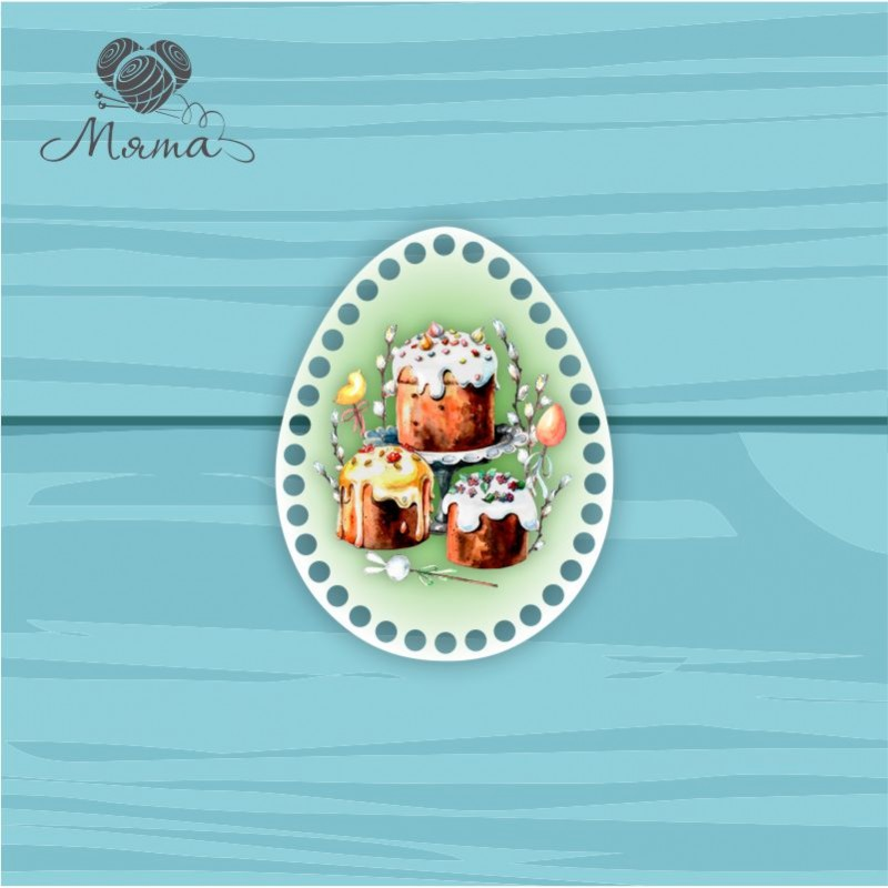 Egg 18 * 14cm TsP18№68 Three Easter cakes green