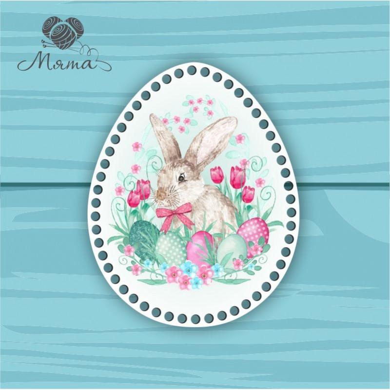 Egg 25 * 20cm TsP25№41 hare in tulips