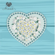 Heart 21cm TsP21№26 Daisies on a light background