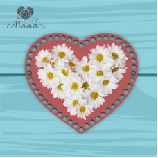 Heart 21cm TsP21№27 Daisies on a dark background