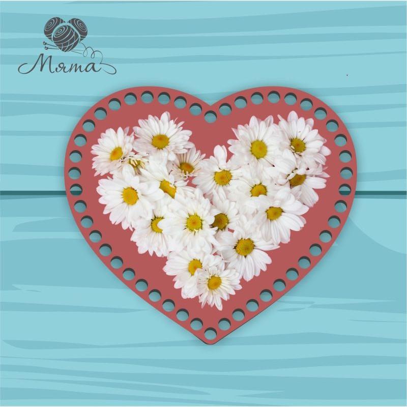Heart 21cm TsP21№27 Daisies on a dark background