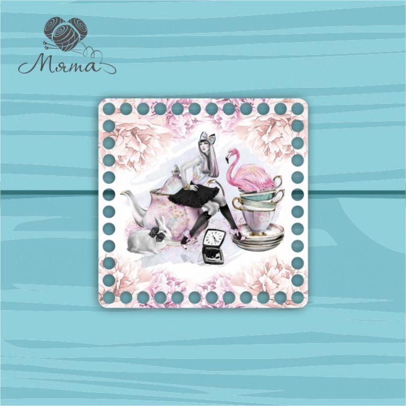 Square 15*15 cm CP15 №111 Girl and Flamingo