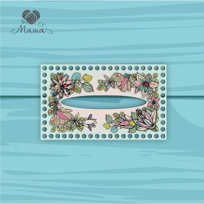 Napkin holder 25*15 cm CP25_15№52 Flowers turquoise