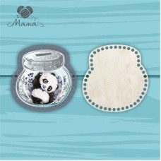 Moneybox with color printing 20cm CP20№83 Panda boy (lid + bottom)