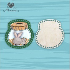 Piggy Bank with color printing 20cm CP20№77 Bunny (cover+bottom)