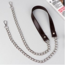 Bag handle, with chains and carabiners, 120 × 1.8 cm brown