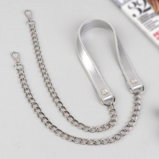 Bag handle, with chains and carabiners, 120 × 1.8 cm silver