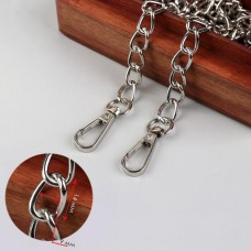 Bag chain, with carabiners, 9 × 14 mm, 120 cm, silver