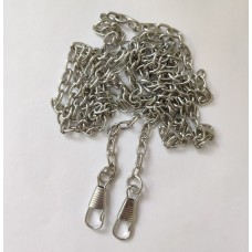 Bag chain, with carabiners, 5 × 7 mm, 120 cm, silver